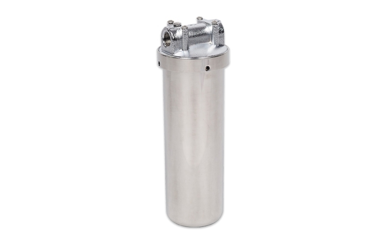Stainless steel filter housings for hot water